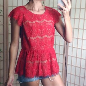 Maeve Lace Peplum Zip Back Blouse